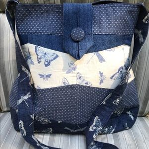 Denim Blue/White Nature Butterfly Dragonfly Tote